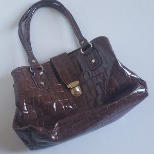 Liz Claiborne Large Leather Satchel Bag Brown